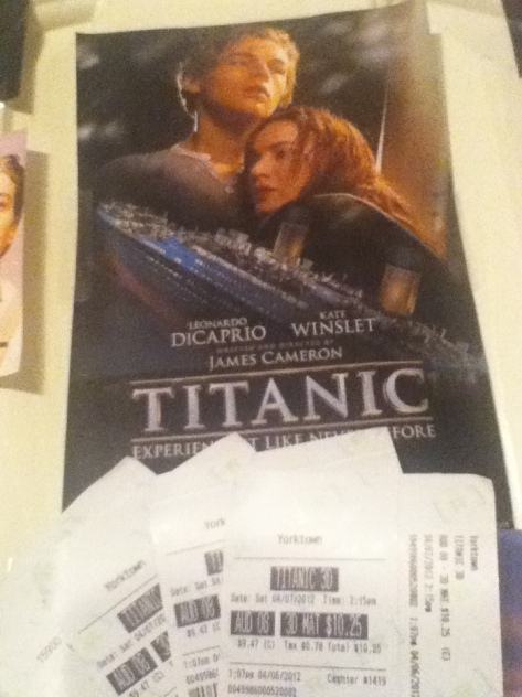 Pic of movie tickets for Titanic 3D